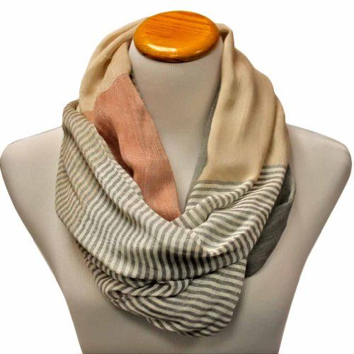 Gray  Beige Neutral Tone Striped Lightweight Circle Loop Infinity Scarf - List price: $29.00 Price: $21.99