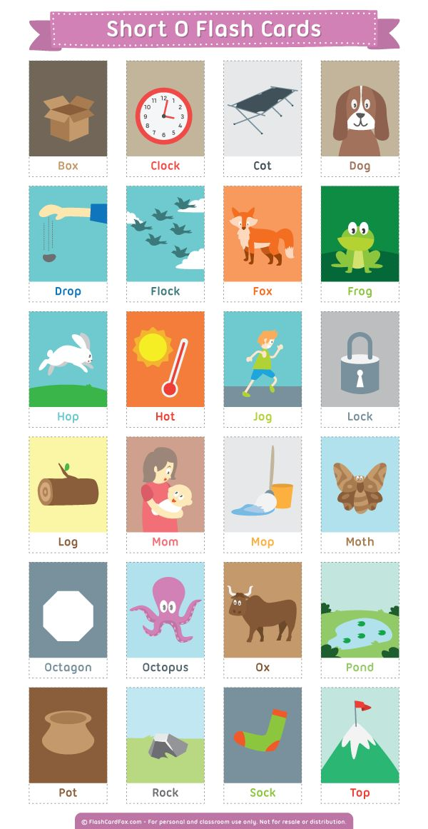Free printable short O flash cards. Download them in PDF format at http://flashcardfox.com/download/short-o-flash-cards/