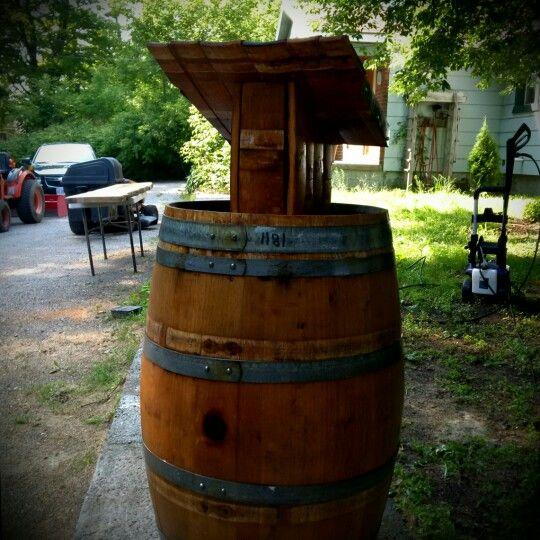 Retired wine barrel podium for rent