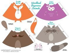 FREE printable woodland paper cones ^^