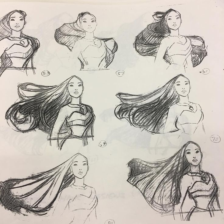 """critical-perspective:  """"tombancroft1:  """"@glenkeaneprd showing us how you do hair! Thanks Glen! #pocahontas #disney #modelsheets  """"  I will cage fight anyone who tries to tell me Pocahontas didn't have the best hair animation of the Disney Renaissance..."""