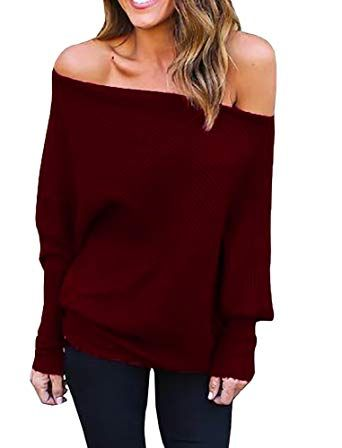 b62fc1d301b1 New Wudia Women s Off Shoulder Tops Pullover Sweaters Long Sleeve Loose Oversized  Knit Jumper online   24.89  from top store newforbuy