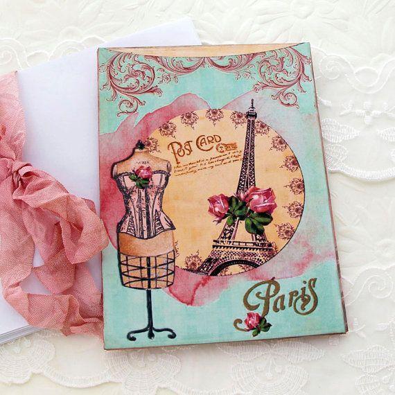 Note Cards Vintage Paris Postcard Eiffel by EnchantedQuilling, $10.50