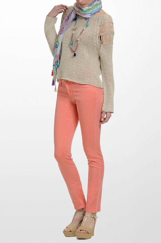 Sarah Lawrence - long sleeve sweater, skinny denim pant, printed scarf, beaded necklace with tassels.
