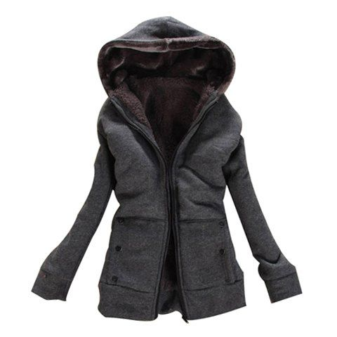 Laconic Hooded Zipper Design Solid Color…