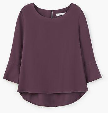 Womens aubergine ruffled sleeve blouse from Mango - £29.99 at ClothingByColour.com
