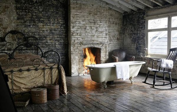 Simple and beautiful brick wall free standing roll bath top fireplace and Iron bed