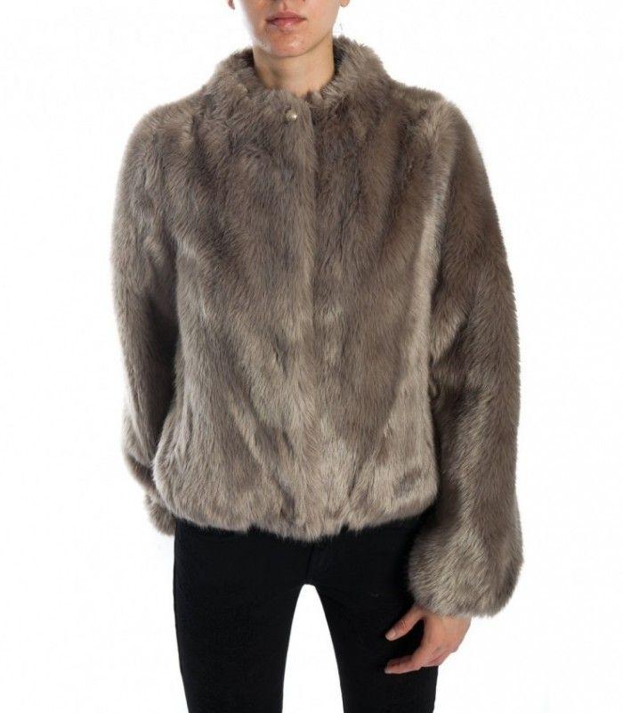 PATRIZIA PEPE Silver Beige faux fur jacket 2l0743 a2wn_br