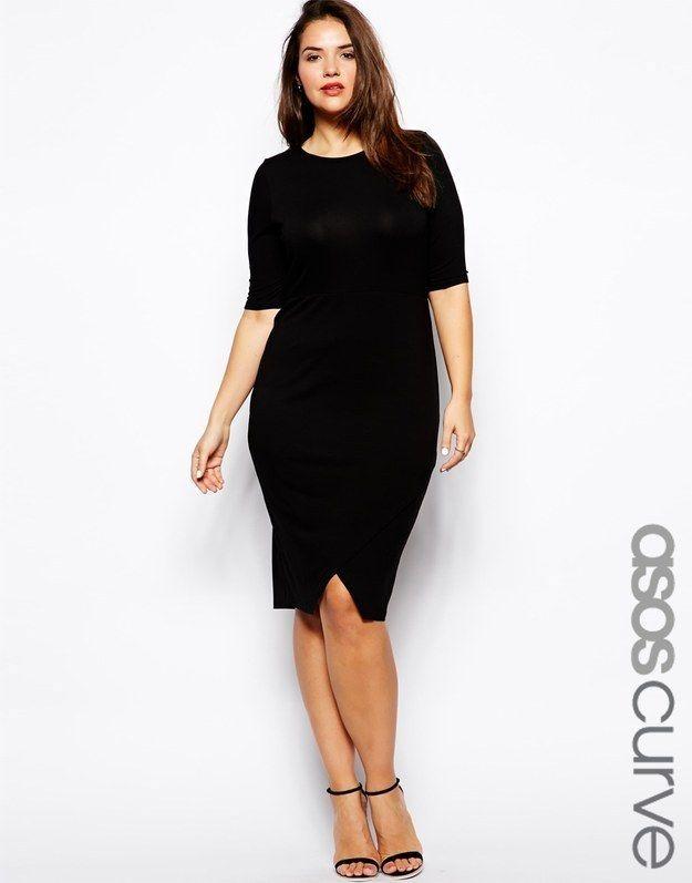 Body-Conscious Dress With Asymmetric Hem In Longer Length, $42.56, ASOS | Community Post: 27 Fabulous Plus Size Little Black Dresses Under $50