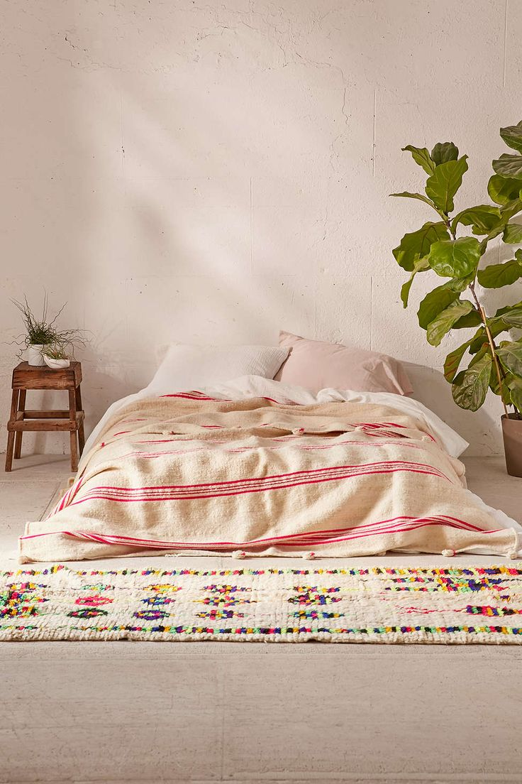 Vintage Moroccan Striped Wool Bed Blanket - Urban Outfitters