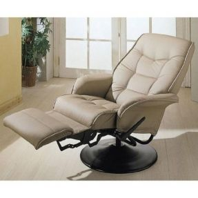 This comfy recliner allows you not only adjust your favorite recline positions but it also swivels and gives a great feeling of comfort. The chair is upholstered in leatherette, and overstuffed. (Do not bolt to the floor of RV Motorhomes or Trailers.)