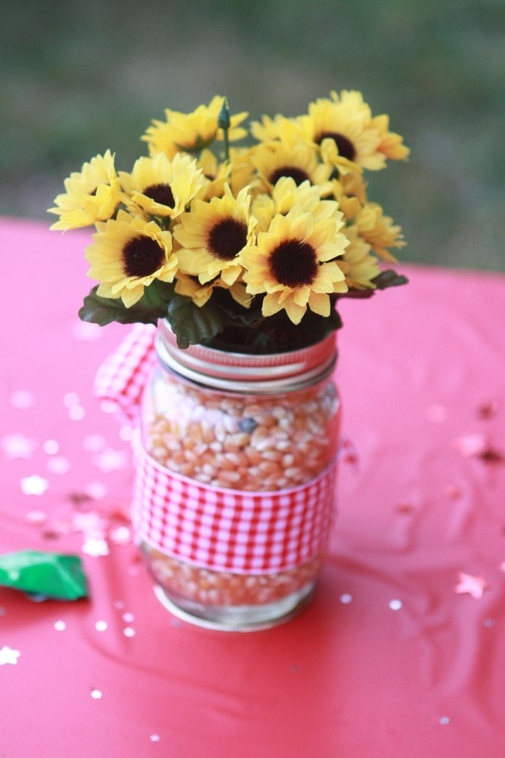 Centerpiece for farm themed birthday party