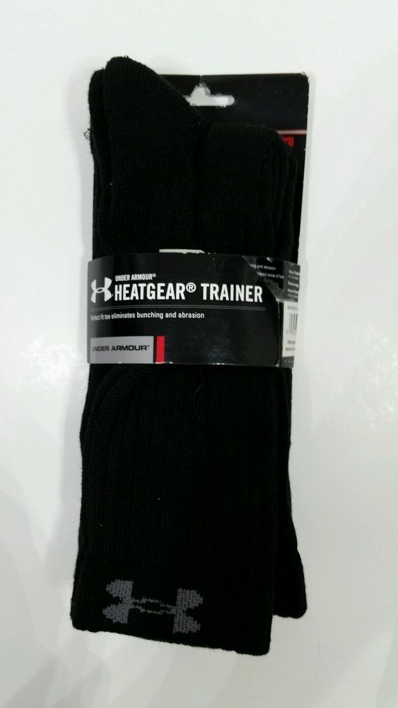 NWT Under Armour HEATGEAR Trainer Black Socks Mens Size Large L Crew 2 Pair  #UnderArmour #Athletic