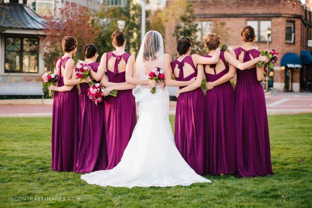 Sangria Bridesmaid Dresses: Bill Levkoff Style 485 Uptown Charlotte Wedding