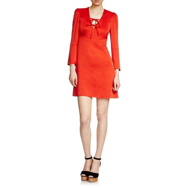 Maje Rahon Satin Dress (4.308.160 VND) ❤ liked on Polyvore featuring dresses, rouge, maje dress, maje, sailor dresses, nautical dresses and stitching dresses