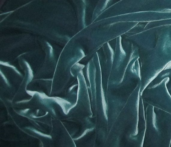IRIDESCENT AQUA Silk Velvet Fabric 1 Yard by silkfabric on Etsy, $27.95