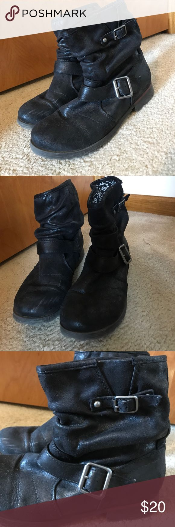Super cute black moto boots Worn a handful of times, shoes very minimal wear, and are super comfy. Feel free to make an offer! Rock and Candy Shoes Combat & Moto Boots