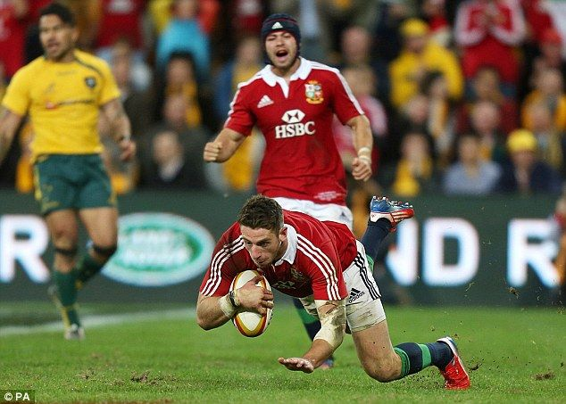 Try time: Cuthbert ran over to hand the Lions a perfect platform at the start of the second half. British & Irish Lions - First Test 2013