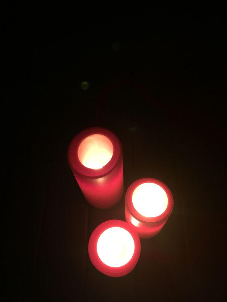 3 candles - Chrome filter / birds eye view