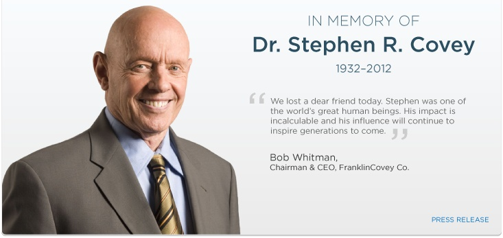 Dr. Stephen R. Covey, author of 7 Habits of Highly Successful People.  One of the best books I've read - and it lives on and can help you even after his death today.  Dr Covey, RIP.