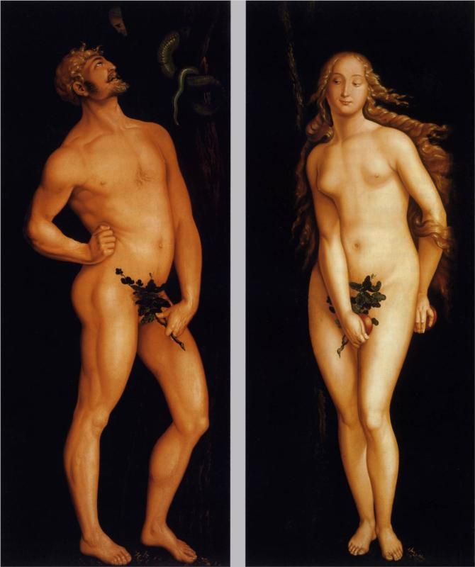 Hans Baldung, Adam and Eve, 1524. Hans Baldung Grien (c. 1484 – 1545) was a German artist in painting and printmaking who was considered the most gifted student of Albrecht Dürer. Throughout his lifetime, Baldung developed a distinctive style, full of color, expression and imagination. Wikipedia