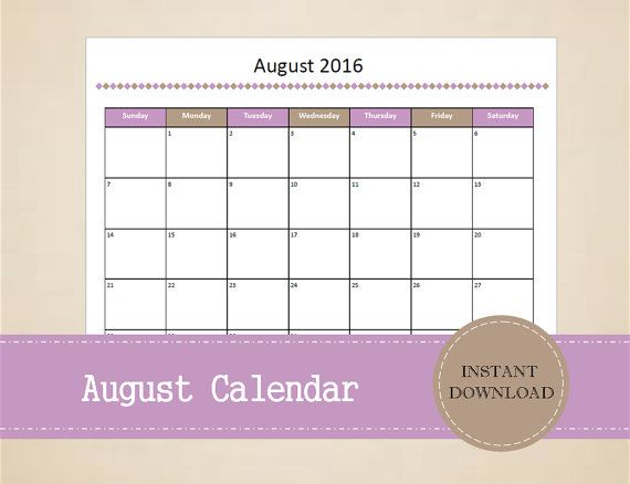 Printable August 2016 Calendar  Seasonal by MBucherConsulting