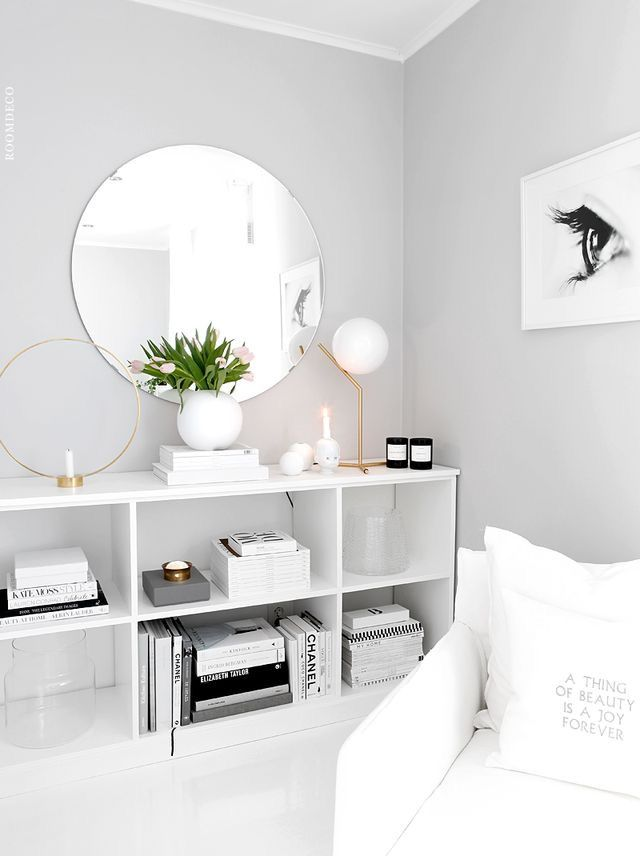 Wall colour - light grey paint color with white furniture and decor for a  clean, open look.