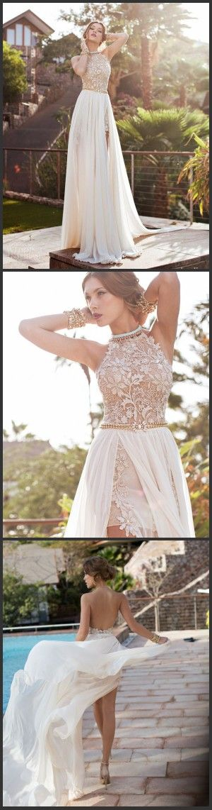 Wholesale - 2014 Sexy New Halter Lace Chiffon Prom Dresses Beaded Crystals Applique Floor Length Evening Gowns