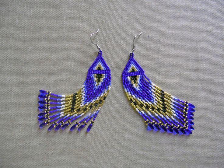 """Boucles d'oreilles perles Miyuki indien huichol """"Bleu et doré"""". Boucles d'oreilles ethnique.Tissées peyote : Boucles d'oreille par m-comme-maryna"""