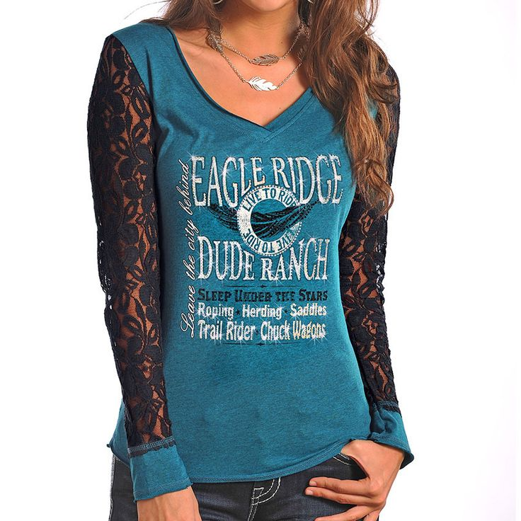 Panhandle Women's Dude Ranch Lace Sleeve Shirt