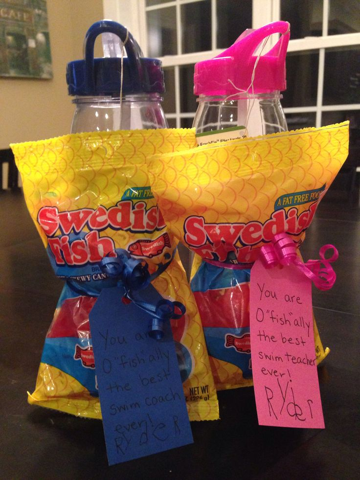 "Swim teacher gift - Swedish Fish and a water bottle; ""You are o""fish""ally the best swim coach ever!"""