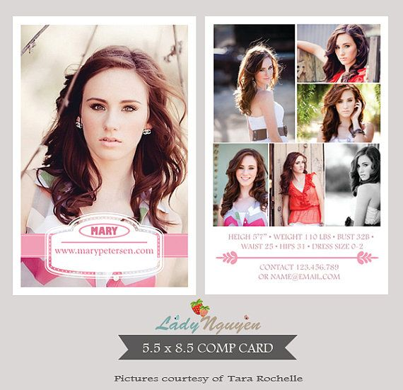 Modeling Comp Card Photoshop Templates