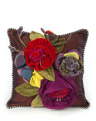 Botanic Large Square Pillow by MacKenzie-Childs at Horchow.