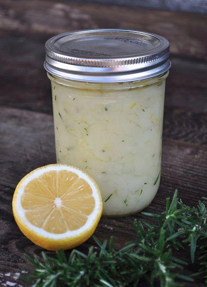 DIY natural lemon and rosemary body scrub.