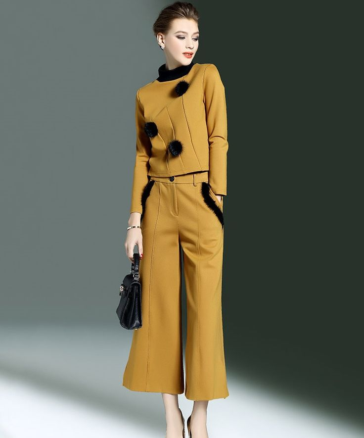 Elegant Fashion Brand Trouser Suit For Women, Pants Suit, Wide Legs, Yellow