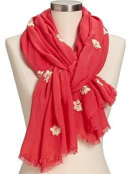 Womens Embroidered Scarves