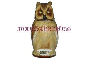Mettlach Stein #2036 Character 1/2L Owl - German Beer Stein