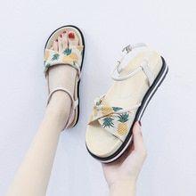 SEGGNICE Pineapple Sandals Women Print 2019 Summer Women's Shoes Flat Beach …