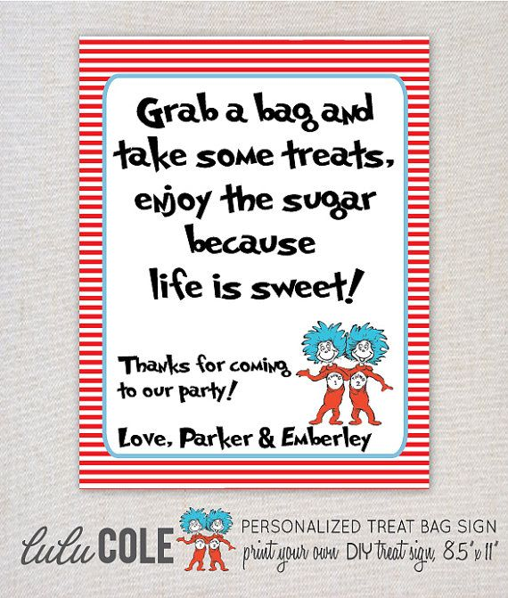 Thing 1 & Thing 2 Dr. Suess Inspired Treat Bag/Favor Sign - PERSONALIZED - Print Your Own   Baby in 2018   Pinterest   Birthday, Party and Baby Shower