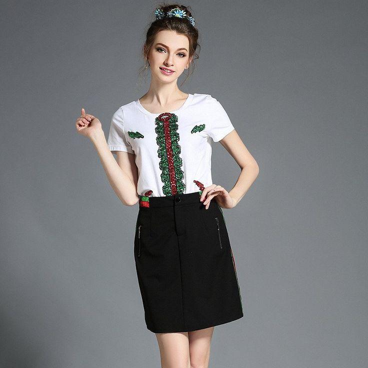 Women Summer Outfit T Shirt Skirt Two Piece Set Plus Size Clothing l-5xl