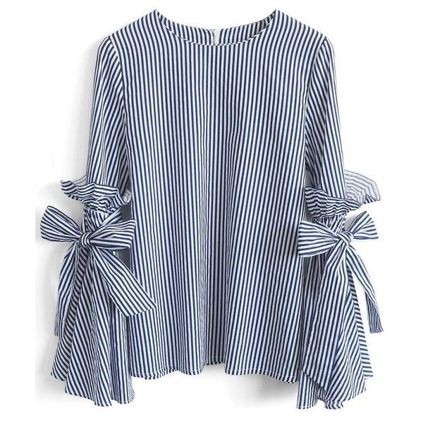 Chicwish Stripes Charisma Top with Bell Sleeves ($40) ❤ liked on Polyvore featuring tops, blouses, shirts, blusas, blue, blue stripe blouse, blue stripe shirt, blue ruffle shirt, shirt blouse and ruffled shirts blouses
