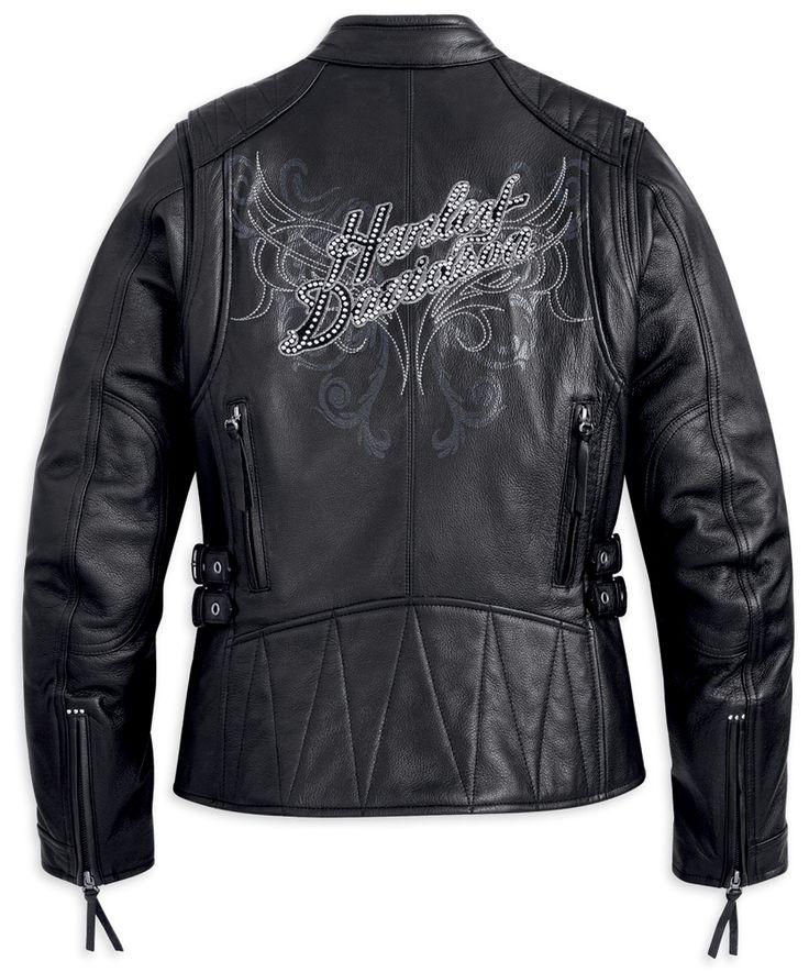 Harley-Davidson® Womens Carmen Abrasion-Resistant Black Leather Jacket