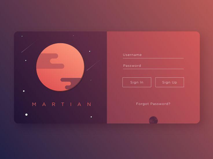 Martian Sign Up - UI Movement