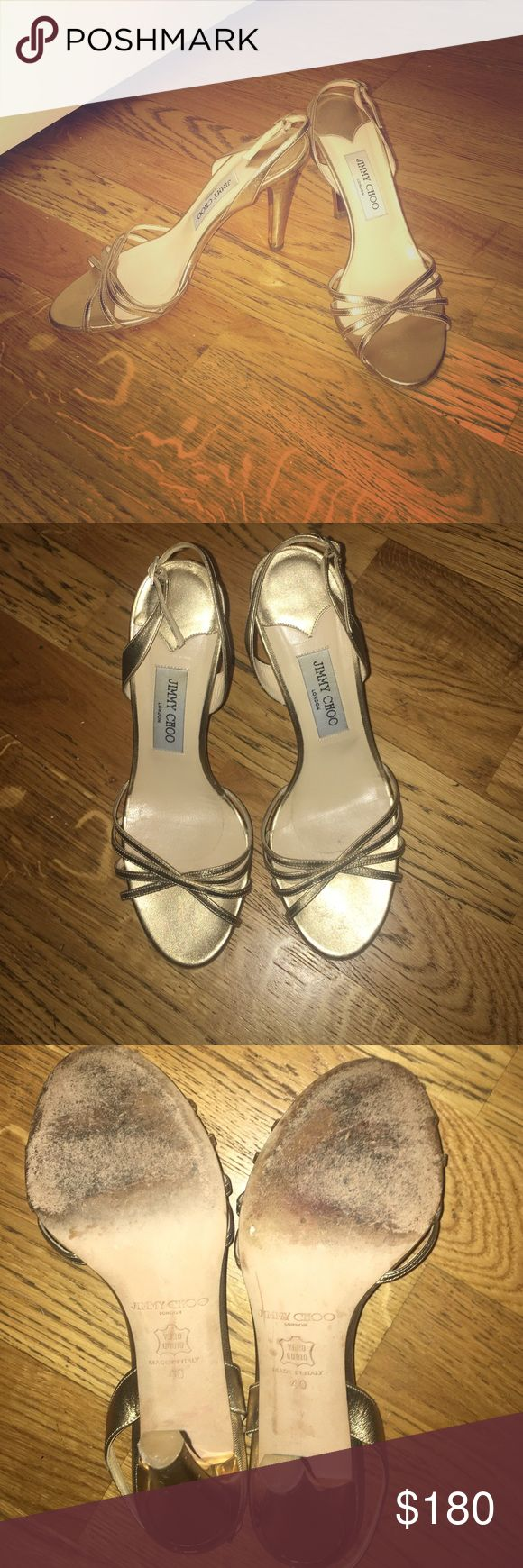Jimmy Choo size 40 gold evening heels Worn only 3 times, these gold Jimmy Choo evening shoes are a match for any evening outfit! 4 inch heels, light wear. No box but dust bag included with purchase. Jimmy Choo Shoes Heels