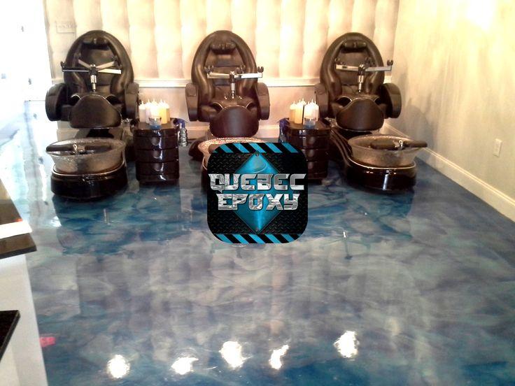 Salon esthetique Base noir avec bleu et argent métallique