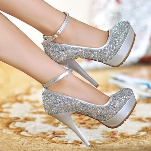 Womens Fashion Shiny Sequins Mary Jane Ankle Strap Pumps Dress Bling Bling Shoes