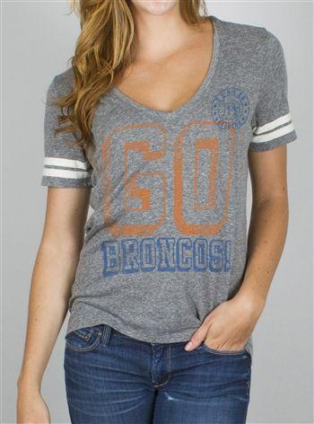 Denver Broncos women's vintage look v-neck tee, one of our bestsellers! OldSchoolTees.com
