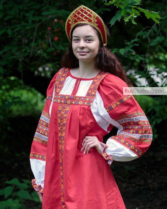Russian dress, Sarafan Red, Russian folk dress, Slavic dress, Russian costume red, Russian folk dress Khorovod, Traditional Russian Clothing