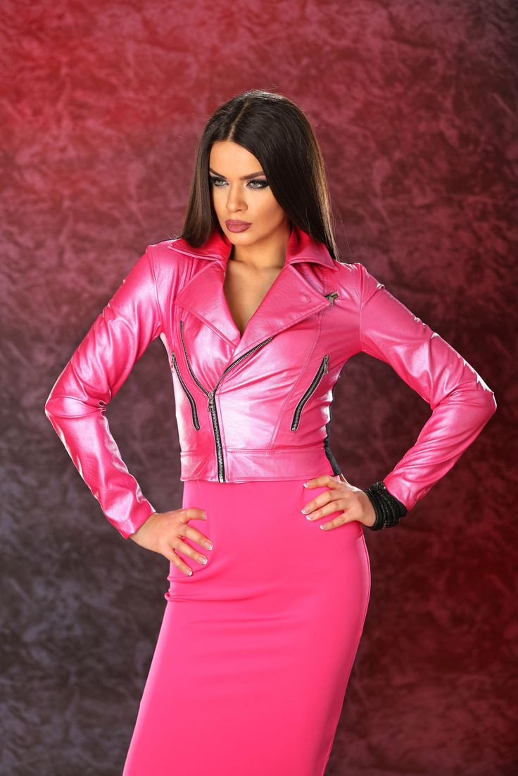 Ocassion Sexy Chick Pink Jacket, women`s jacket, inside lining, metallic aspect, slightly elastic fabric