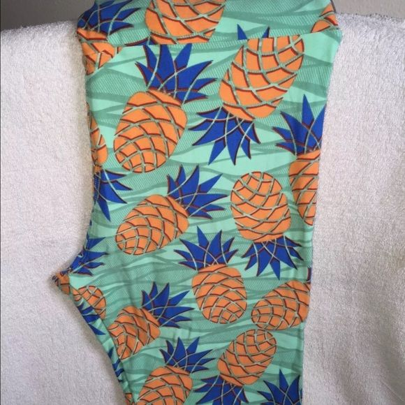Aqua TC LuLaRoe pineapple leggings New New never worn aqua LuLaRoe TC pineapple leggings LuLaRoe Pants Leggings